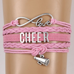 Wholesale New Cheer Letter horn Sports Bracelets For Women Men Cheerleader Sign charm weave Leather rope Wrap Bangle Fashion DIY Jewelry Gift