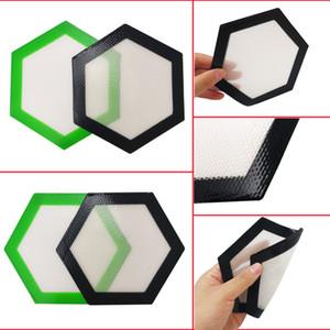 2017 Quality FDA food grade reusable non stick concentrate bho wax slick oil Hexagon shape heat resistant fibreglass silicone dab pad mat