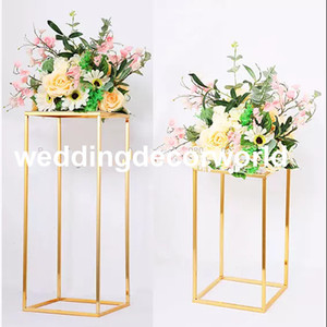 Wholesale electroplating gold plating resale online - Latest no flowers including Wedding occassion gold plating metal floral stand geometric road lead electroplate square flower stand deco577