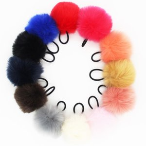 Wholesale Fashion Jewelry Jewelry Furling PC Faux Rabbit Fur Rubber Elastic Hair Bands Pom Pom Hair Scrunchies for Girl Ponytail Holder colors