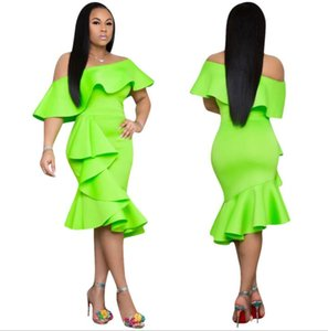 New arrival Women Sexy Light green slash neck party Dress lady Ruffle Bodycon Dresses Casual Mini Dresses