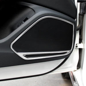 Stainless Steel Side Door Audio Speakers Decoration Frame Cover Trim 4pcs For Audi A5 2018 A4 B9 2017-2019 Interior Accessories