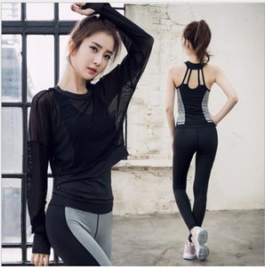 Long-sleeved Yoga Suit Women's Running Apparel Slim Fitness Apparel Three-piece Quick-drying vest and trousers