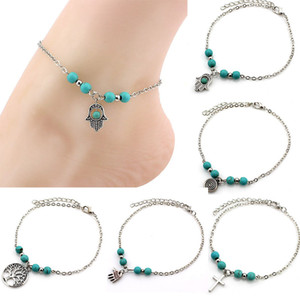 Charm Anklet Hand Tree Cross Round Pendant blue bead Silver color Plated Metal Chain for Women foot Anklet gilft