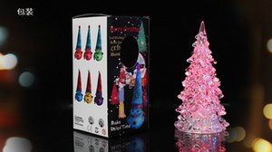Wholesale Colorful LED Mini Christmas Tree Light Acrylic Electronic Components Nightlight Decoration Christmas Tree Ornaments Lamp for christmas