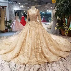 aad97b1367a9 Golden Lace Wedding Dresses 2019 Newest Style Champagne V-Neck Long Sleeves  Lace Up Back