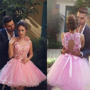 Wholesale 2019 New Halter Neck Backless 3D Flower Cocktail Dresses Elegant Short Prom Gowns Tulle Homecoming Party Dresses