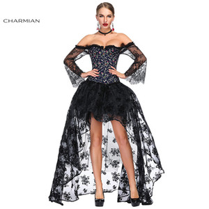 Wholesale Charmian Women s Victorian Gothic Black Blue Floral Print Plastic Boned Lace Overbust Corset with Organza High Low Skirt Sets