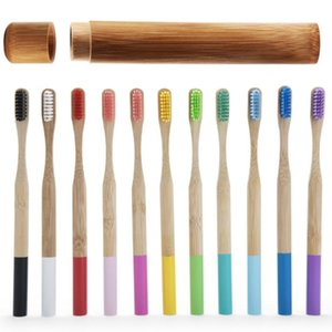 Wholesale Eco friendly Bamboo Toothbrush Set With Natural Bamboo Tube Round Handle Toothbrushes Travel Packaging For Oral Hygiene Hotel Supplies