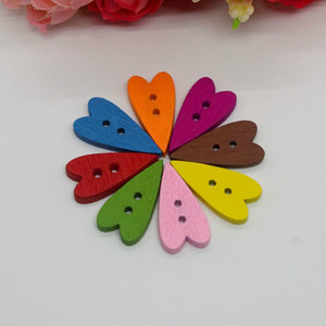 Wholesale New 300pcs Lot 24MM*15MM Mixed Printed 2 Holes Long Heart Wood Sewing Button Scrapbooking Sewing Accessories