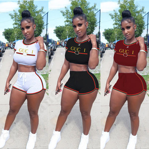 Women's Crop Tops and Shorts Two Piece Outfits Brand Designer Tracksuits Letters Print Sportswear Braid Ribbon Bodysuit Beachwear ClothC7806 on Sale