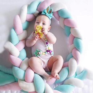Colorful Knot Soft Baby Pillow Bumper Braided Crib Pillow Baby Bed Decoration Cushion Protector Pillows Infant Room Decorative