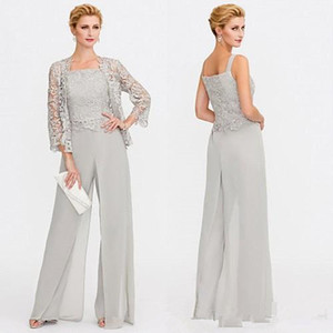 Wholesale Newest Gray Mother of The Bride Dresses Two Pieces Lace Jackets Mothers Dresses For Wedding Events Pants Suit Evening Gown