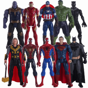 Wholesale Marvel superheroes 30cm kawaii cute dolls that swing and shine cute action figures are placed on a table or cabinet as a children's gift