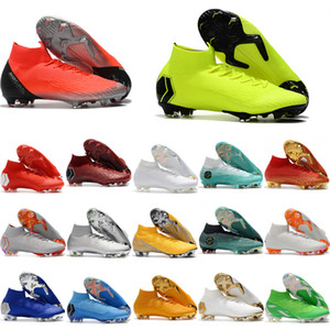Wholesale 2018 mens soccer shoes Mercurial Superfly VI Elite Neymar Ronaldo FG soccer cleats cr7 football boots chuteiras de futebol original
