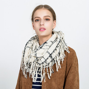 Girl Plaid Scarf Ring Women Dotted Line Grid Scarves Tassel Scarves Classic Tartan Wraps Shawl Warm Winter Blanket GGA2552 on Sale