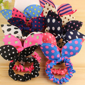 Wholesale Children women Hair Band Cute Polka Dot Bow Rabbit Ears Headband Girl Ring Scrunchy Kids Ponytail Holder Hair Accessories A