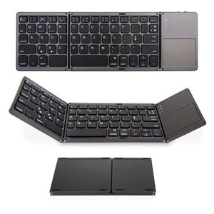 ingrosso mini tastiera wireless pieghevole-Portable Keyboard Triple Bluetooth pieghevole Wireless Mini pieghevole Touchpad tastiera per iOS Android Windows tablet iPad