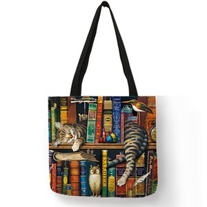 Wholesale Popular Hand Bags For Women Naughty Bookshelf Cat Printing Totes Eco Linen Large Capacity Casual Practical Shoulder Bag