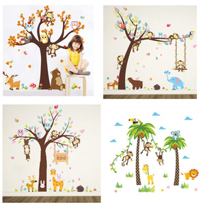 Wholesale Retail 5 styles Kids monkey wall stickers for nursery Children Room Removable Wall Stickers Wall papers Decorative home decor party supply