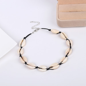 Wholesale 2 Colors Trendy Natural Cowrie Shell Necklace Handmade Woven Adjustable Statement Necklaces Girls Boho Sea Beach Choker Women Jewelry M060F