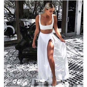 Wholesale Street Style Gauze Bandage Beach Skirt Leisure Suit Lady Sexy Solid Color Vest And Long Skirt Skirt Suit