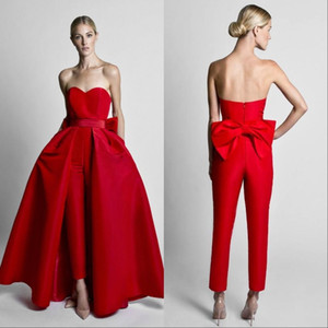 Krikor Jabotian Red Jumpsuits Evening Dresses With Detachable Skirt Sweetheart Prom Gowns Pants for Women Custom Made Big Bow Black White on Sale