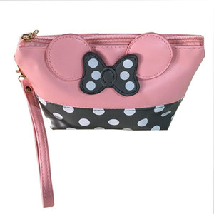 Wholesale Women PU Leather Butterfly Bow Wristlet Cosmetics Bags Fashion Small Makeup Bag Travel Pouch Top Quality P4