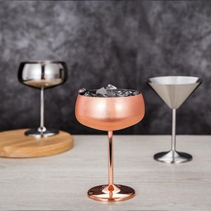 Wholesale martini glasses resale online - Two Colors Red Wine Cups Stainless Steel Cocktail Cup Material High Feet Martini Glass New Arrival zy6 L1
