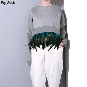 Wholesale 2019 New Casual Hoodies Feather Hem Detachable Spliced Cocoon Type Short Positive Long Back Side Panelled Sweatshirts Girl Tide Tops