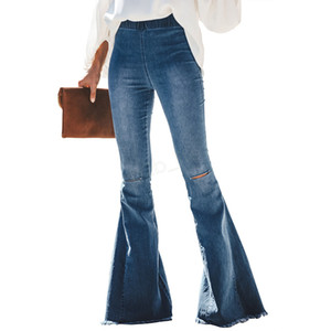 Wholesale Women Ripped Hole Flare Jeans Pants Slim Sexy Vintage Bootcut Wide Leg Flared Jeans Office Lady Bell Bottoms Denim Pants 3pcs LJJA2977