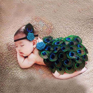 Wholesale 0 T Baby Peacock Photo Props Newborn Baby Girls Boys Hats Headwear dress infant Photography Prop Outfits