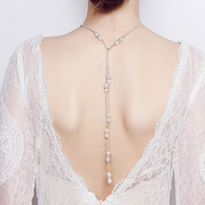 Wholesale wedding jewerly for sale - Group buy Shining Crystals Rhinestones Long Drop Dower Simple Simulated Pearls Body Necklace Wedding Bridal Backdrop for women back chain