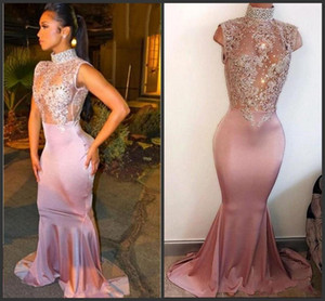 Wholesale 2019 Elegant Mermaid Prom Party Dresses High Neck Pearls Sleeveless Lace Appliques Cutaway Side Crystal Beaded Evening Gowns Custom Made