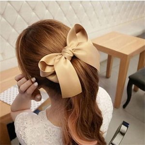 Wholesale Fashion Ribbon Big Large Bow Hairpin Hair Clip Women Girls Satin Trendy Ladies Casual pc New Cute Hair Accessories