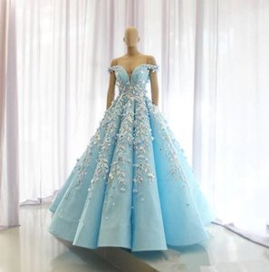 Wholesale Light Sky Blue 2020 Evening Dresses Off The Shoulder Lace Appliqued Prom Gowns African Beaded Floor Length Plus Size Formal Dress