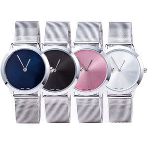 Wholesale Fashion stainless steel mesh belt couple wrist expression person s simple casual waterproof quartz watch men and women s gift with gift box