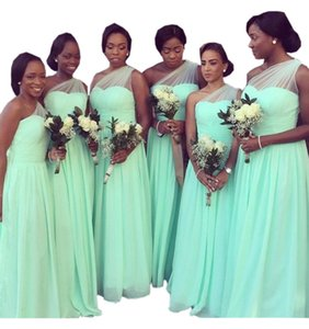 Wholesale Mint Green One shoulder Bridesmaids Dresses Long Cheap Country Style For Black Girls Ruffles Chiffon Wedding Party Evening Dress