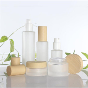 20g 30g 50g Imitated Wood Lid Frosted Glass Bottle Cream Jars Empty Cosmetic jar Pump Bottle Spray Bottles 30ml 40ml 60ml 80ml 100ml