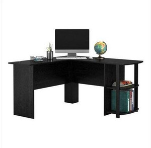 2020 Free shipping Wholesales FCH L-Shaped Wood Right-angle Computer Desk with Two-layer Bookshelves Black