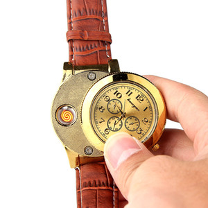 Creative 2 in 1 wrist quartz watch lighter classic Electric coil heater cigarette lighter USB Rechargeable Windproof fashion gold F772