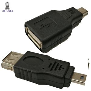 ingrosso connettori mini usb usb-500 pz lotto Nero USB A Femmina A Mini USB B Pin Pin Maschio Connettore convertitore adattatore OTG host