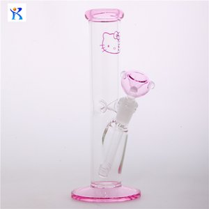 Free Shipping New pink glass bong hello kitty Straight Tube borosilicate water pipes waterpipe heady hookahs Straight Tube smoking