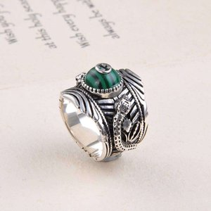 Wholesale New arrival S925 silver band ring design ring with one nature stone decorate stamp logo charm man jewelry PS6495