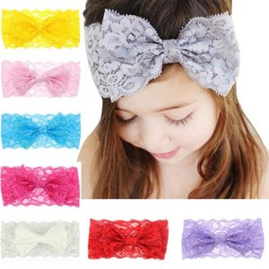 Wholesale kids lace hairband for sale - Group buy 8 Colors INS Lovely Lace bowknot headbands Solid Color kids Hair accessories fashion lovely bow kids baby children hairband free ship