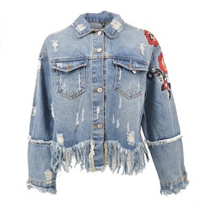 Wholesale Fashion Embroidery Denim Jacket Coat Women Vintage Autumn Tassels Basic Jackets Casual Ripped Jean Jacket Outerwear