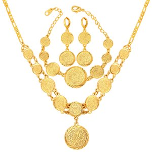 Wholesale Women K Gold Plated Muslim Symbol Coin Beaded Necklace Bracelet Earrings Set Necklace Earring Bracelet Set