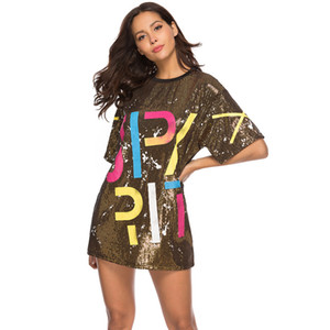 Wholesale Women Sequin T Shirts Dress Sequined Hip Hop Bling Tees letter print Oversized Tops Half Sleeve O Neck Shirt Loose Dresses GGA1629
