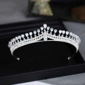Wholesale Shiny Party Tiara Clear Crystals Austrian King Queen Crown Wedding Bridal Crowns Costume Art Deco Princess Performance Tiaras Head Pieces