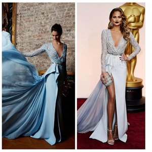 Wholesale 2020 Sexy Split Evening Dresses Long Sleeve Plunging Side Slit Embellished Beading Vestidos De Festa Prom Celebrity Dress